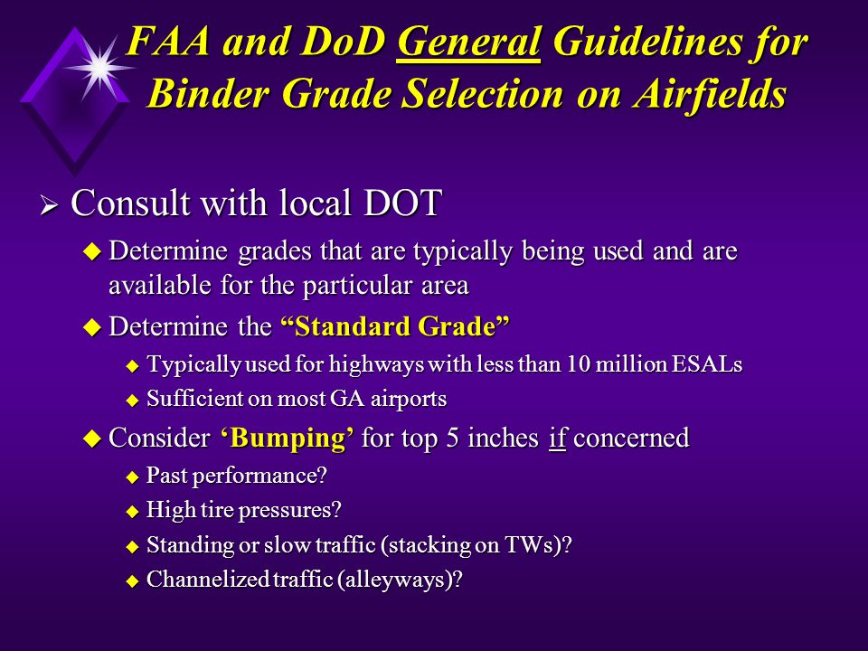 FAA and DoD General Guidelines for Binder Grade Selection on Airfields