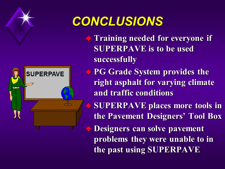 CONCLUSIONS Training needed for everyone if SUPERPAVE is to be used successfully.