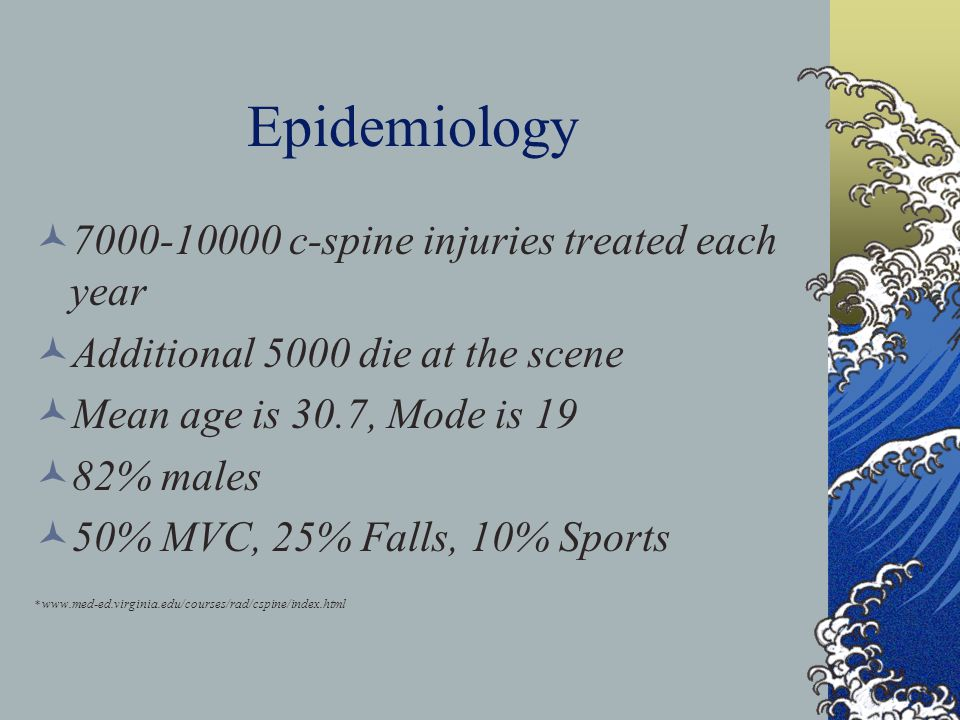 Epidemiology 7000-10000 c-spine injuries treated each year