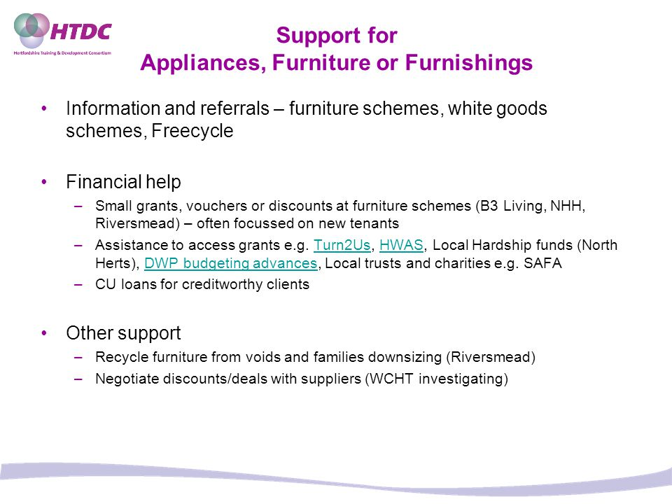 Support for Appliances, Furniture or Furnishings