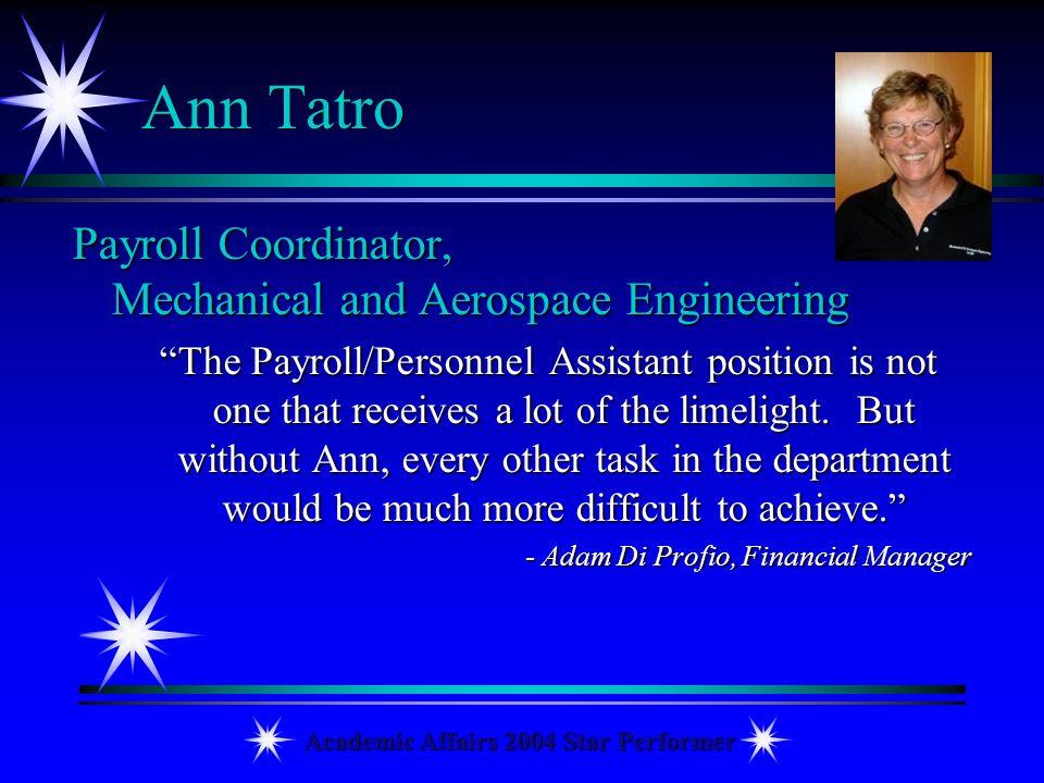 Academic Affairs 2004 Star Performer