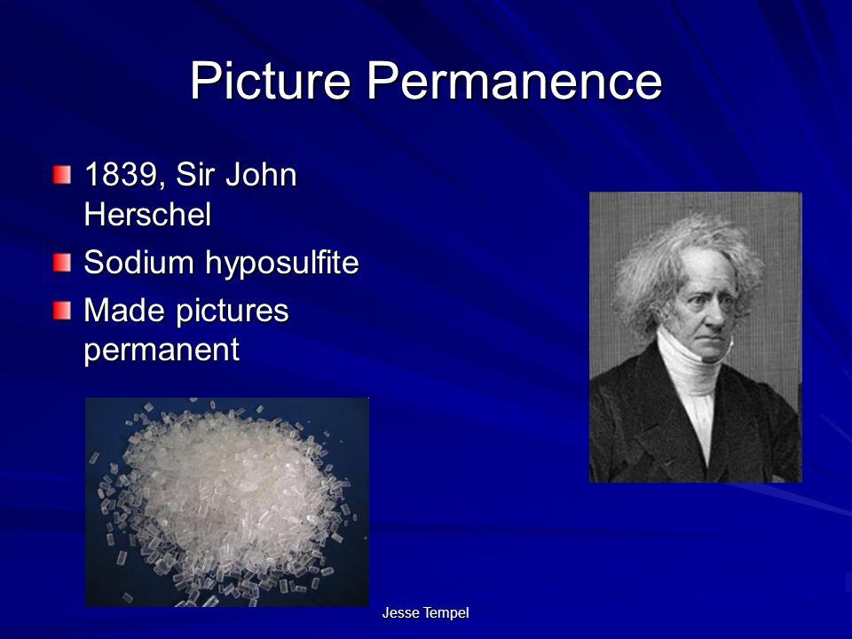 Picture Permanence 1839, Sir John Herschel Sodium hyposulfite