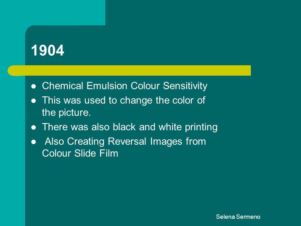 1904 Chemical Emulsion Colour Sensitivity