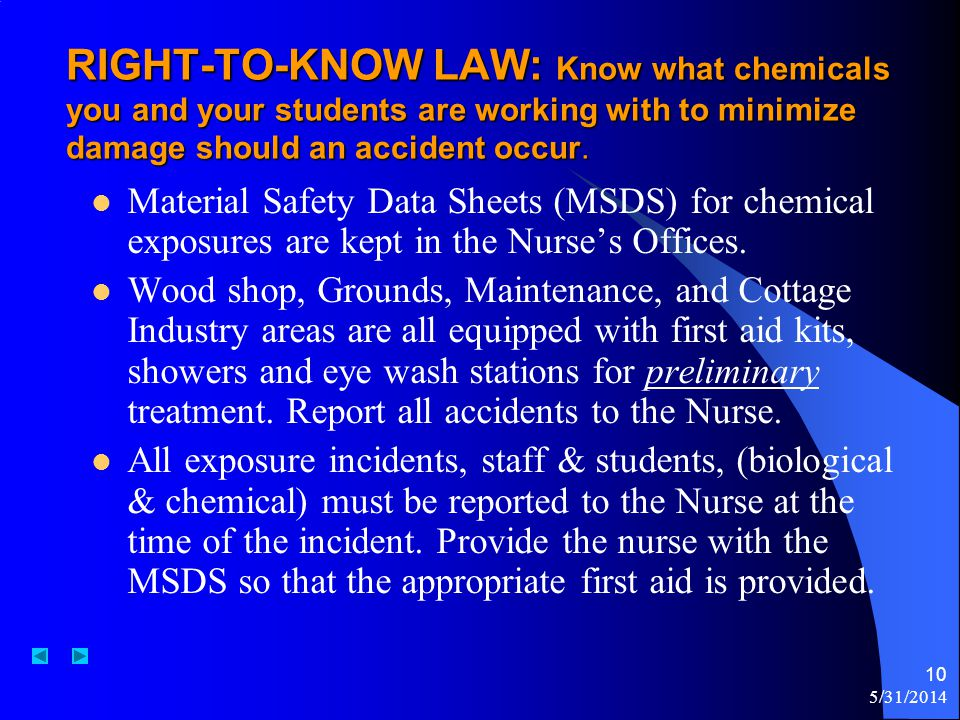 RIGHT-TO-KNOW LAW: Know what chemicals you and your students are working with to minimize damage should an accident occur.