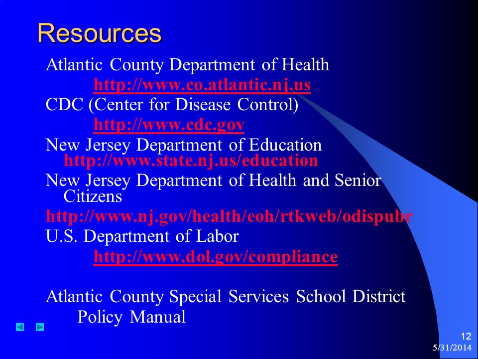 Resources Atlantic County Department of Health
