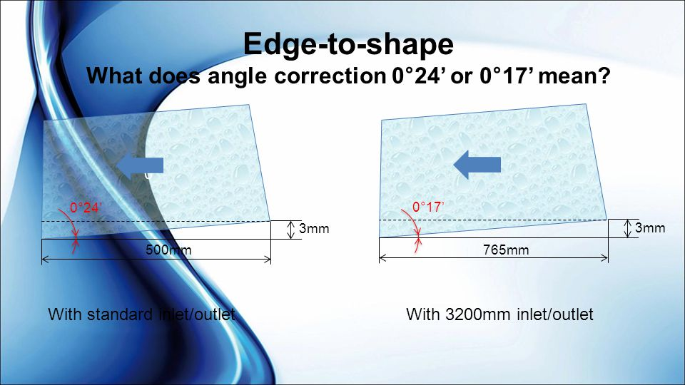 Edge-to-shape What does angle correction 0°24' or 0°17' mean