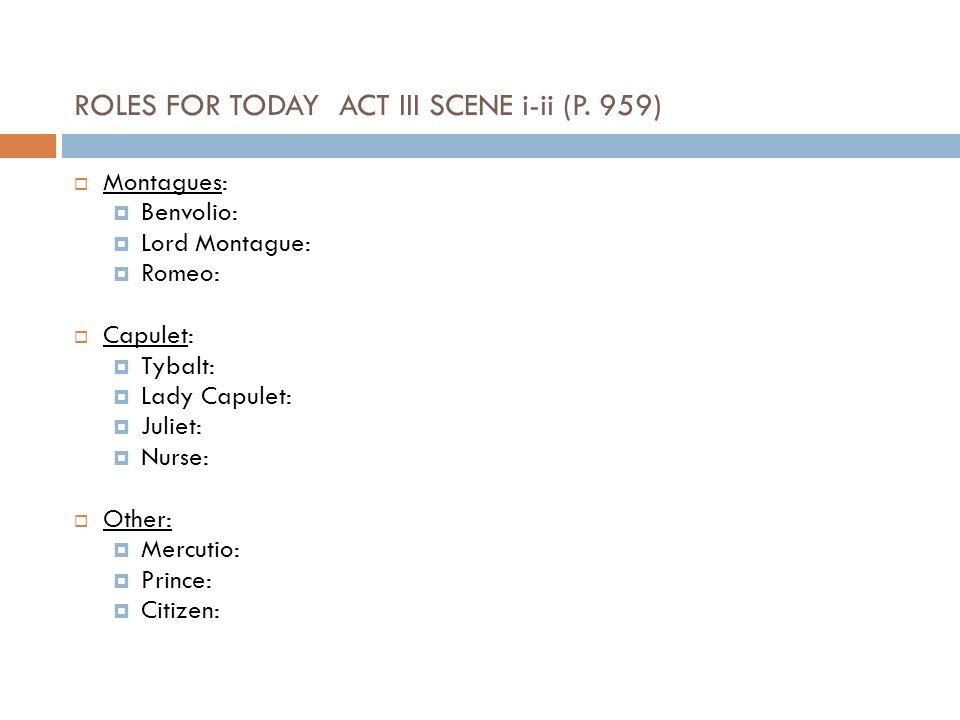 ROLES FOR TODAY ACT III SCENE i-ii (P. 959)