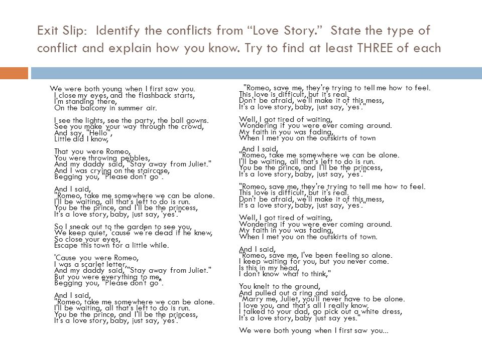 Exit Slip: Identify the conflicts from Love Story