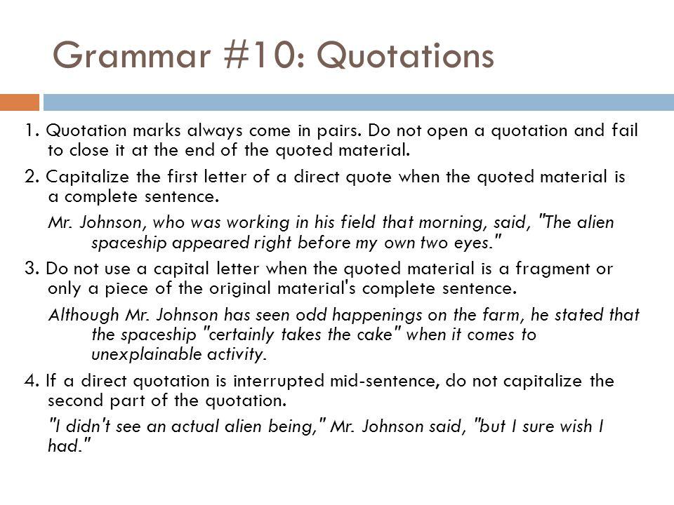 Grammar #10: Quotations