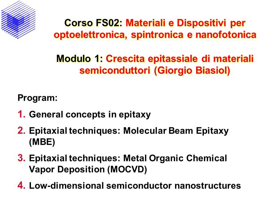 Corso FS02: Materiali e Dispositivi per optoelettronica, spintronica e nanofotonica Modulo 1: Crescita epitassiale di materiali semiconduttori (Giorgio Biasiol)