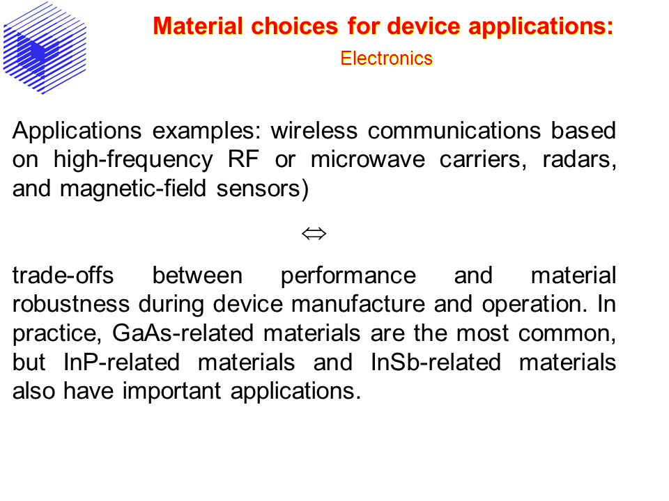 Material choices for device applications: Electronics