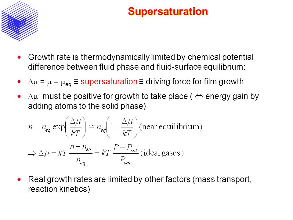 Supersaturation Growth rate is thermodynamically limited by chemical potential difference between fluid phase and fluid-surface equilibrium: