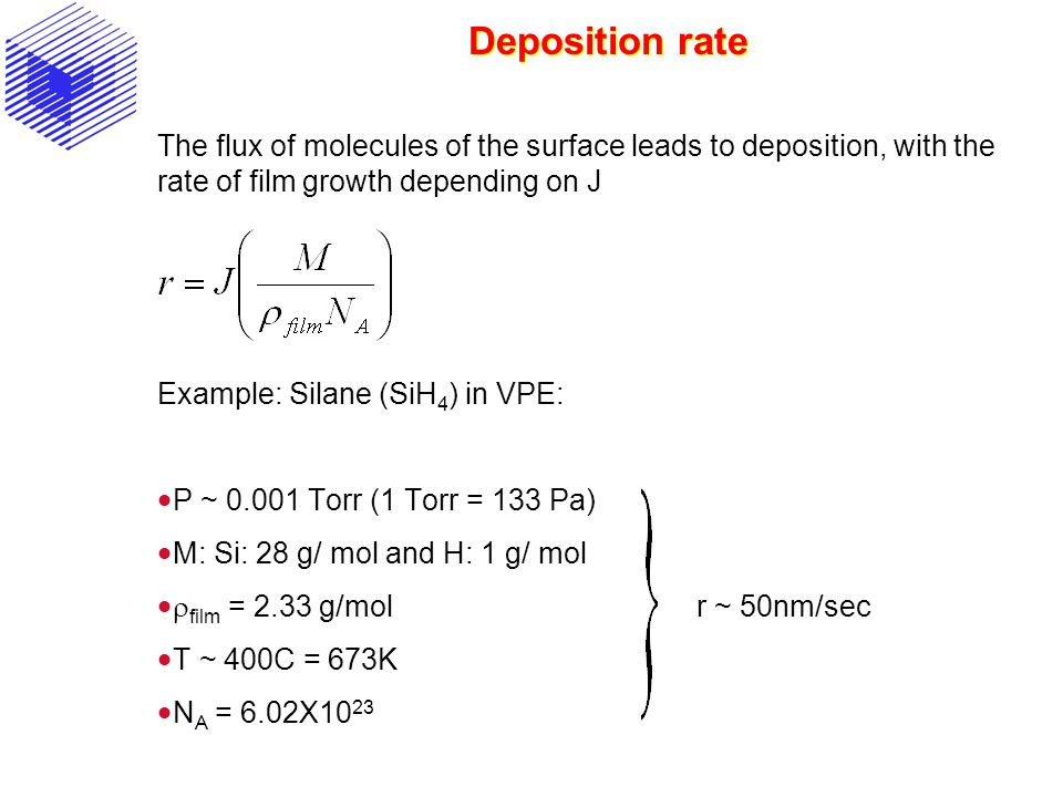 Deposition rate The flux of molecules of the surface leads to deposition, with the rate of film growth depending on J.