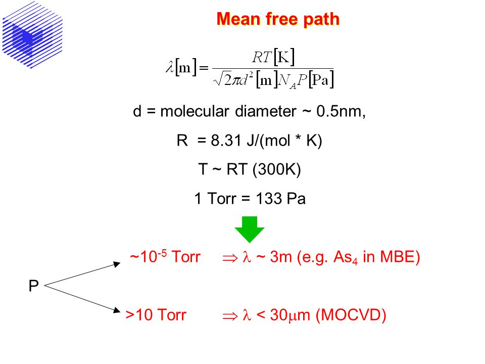 d = molecular diameter ~ 0.5nm,