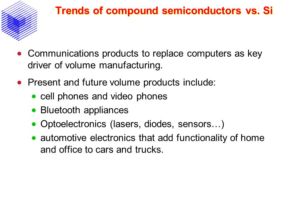 Trends of compound semiconductors vs. Si