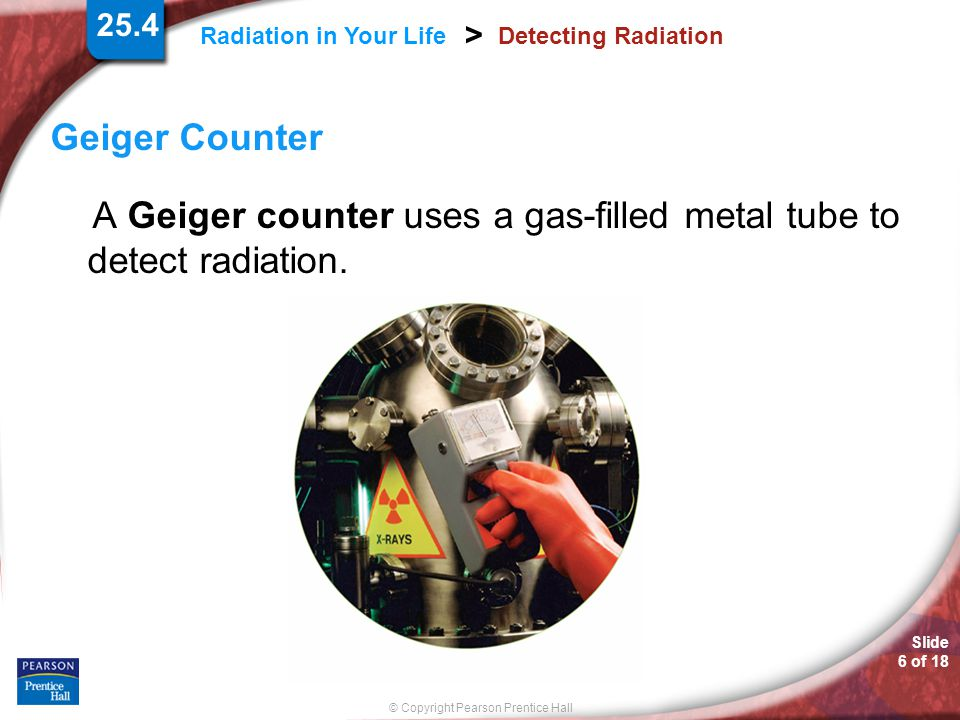 A Geiger counter uses a gas-filled metal tube to detect radiation.