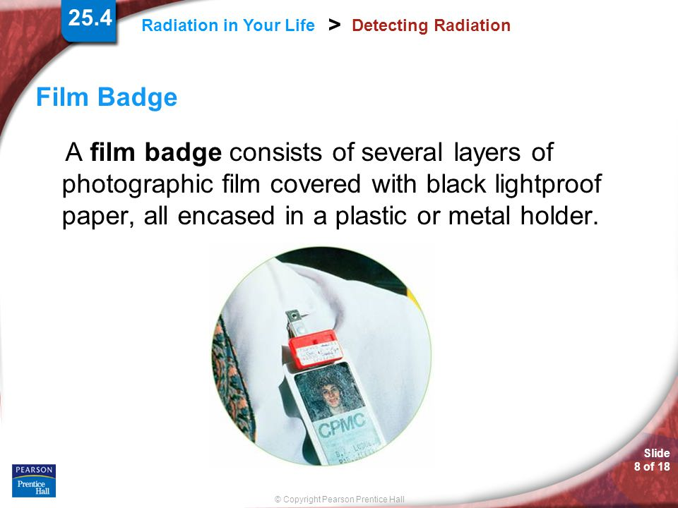 25.4 Detecting Radiation. Film Badge.