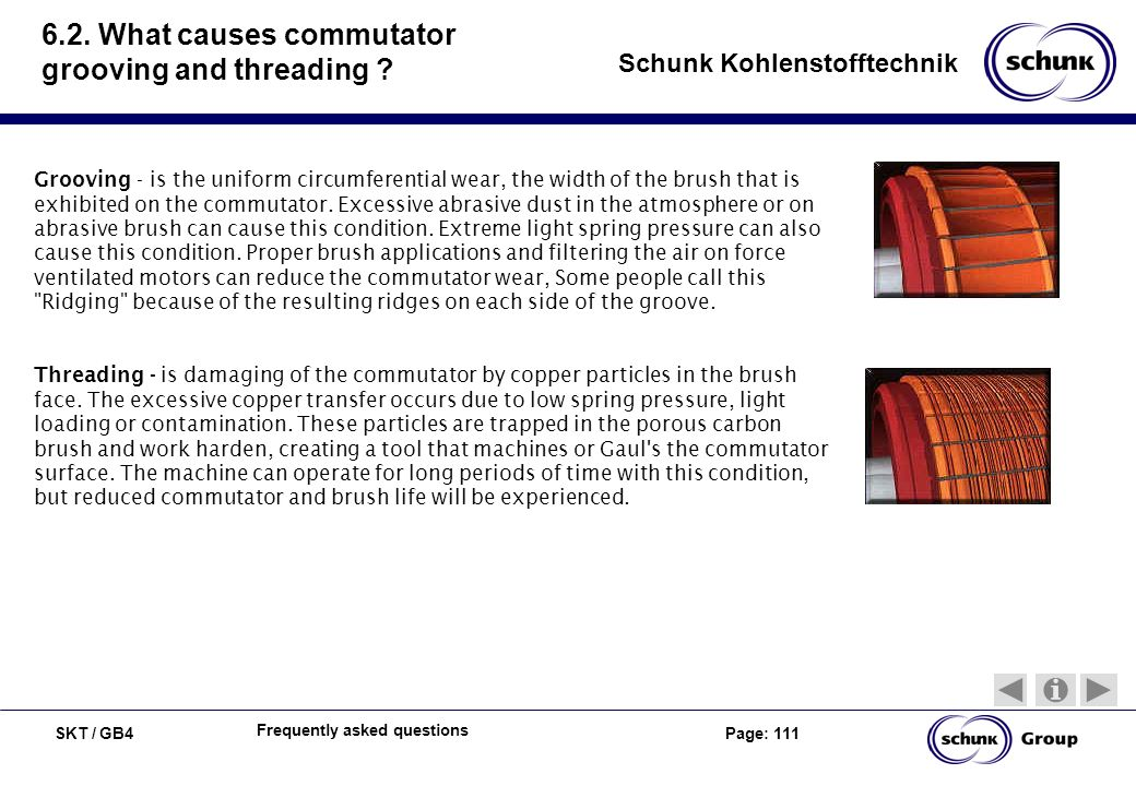6.2. What causes commutator grooving and threading