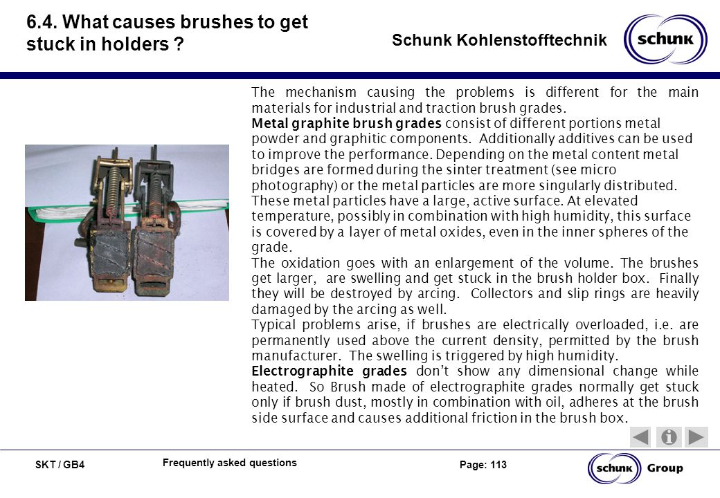 6.4. What causes brushes to get stuck in holders