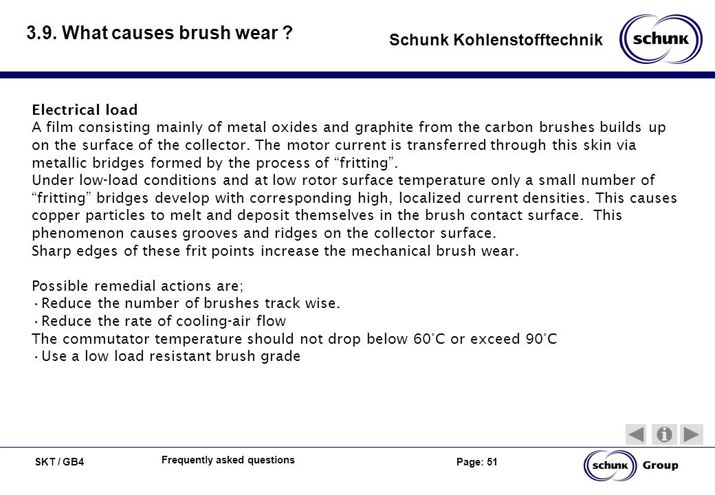 3.9. What causes brush wear Electrical load