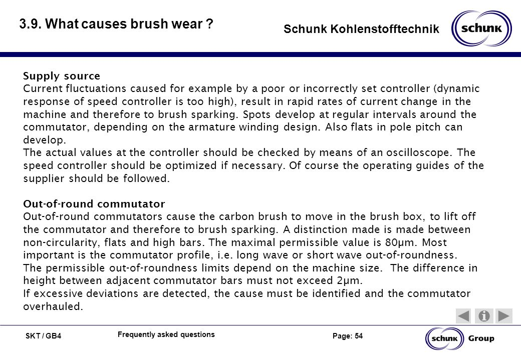 3.9. What causes brush wear Supply source