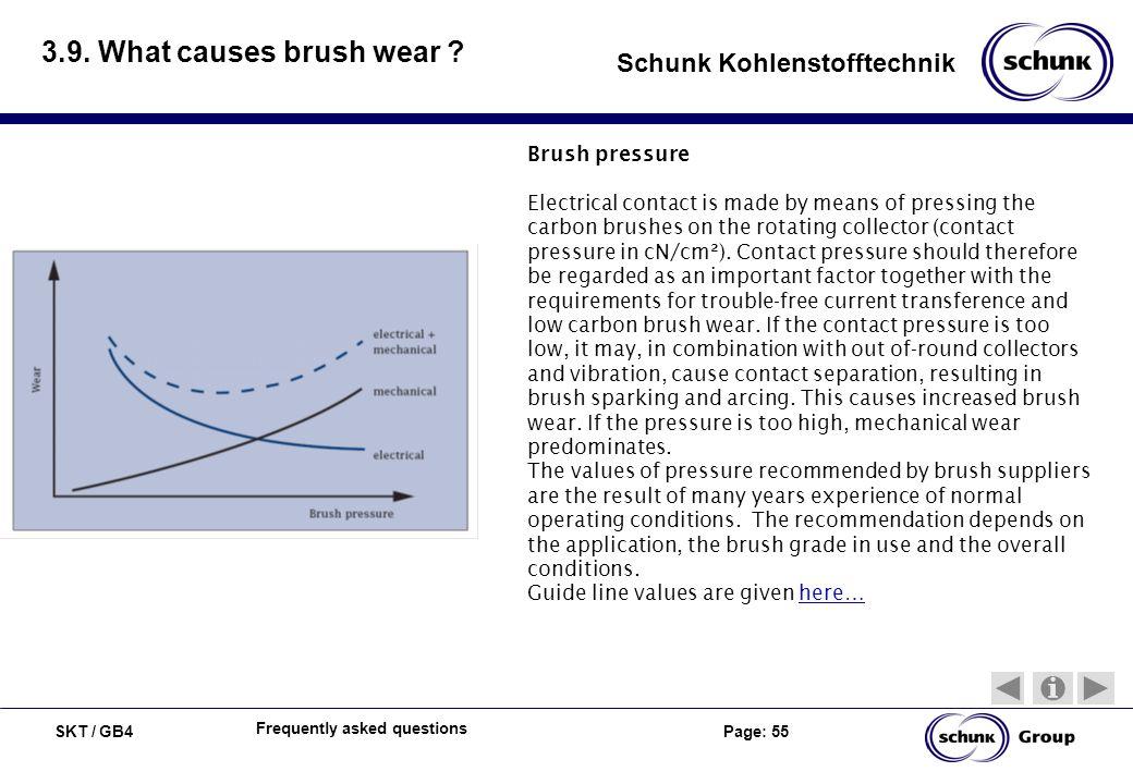 3.9. What causes brush wear Brush pressure