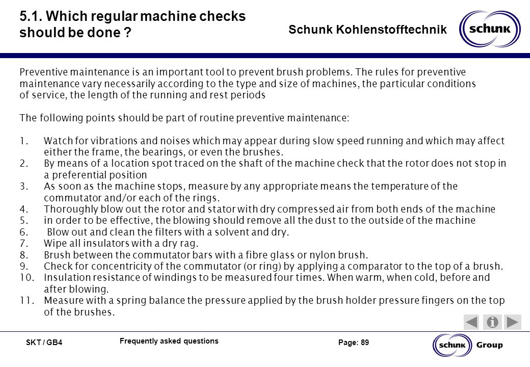 5.1. Which regular machine checks should be done