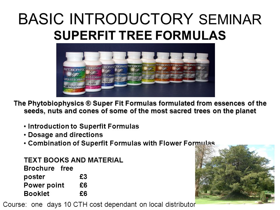 BASIC INTRODUCTORY SEMINAR SUPERFIT TREE FORMULAS