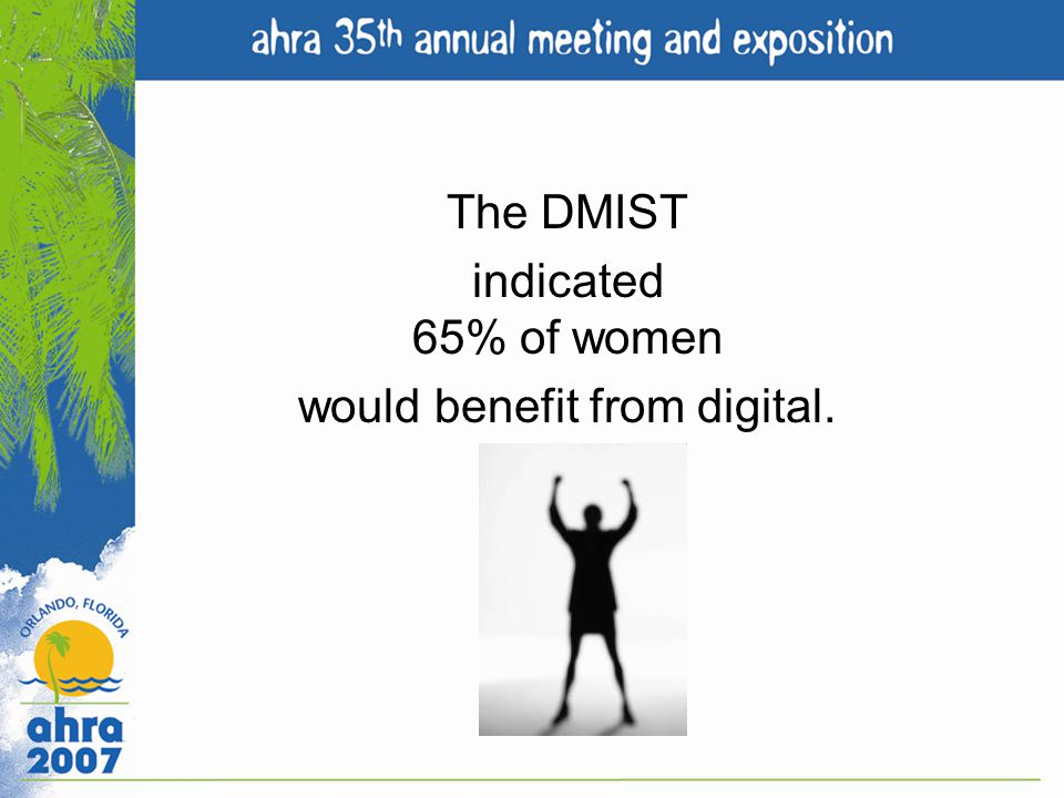 The DMIST indicated 65% of women would benefit from digital.