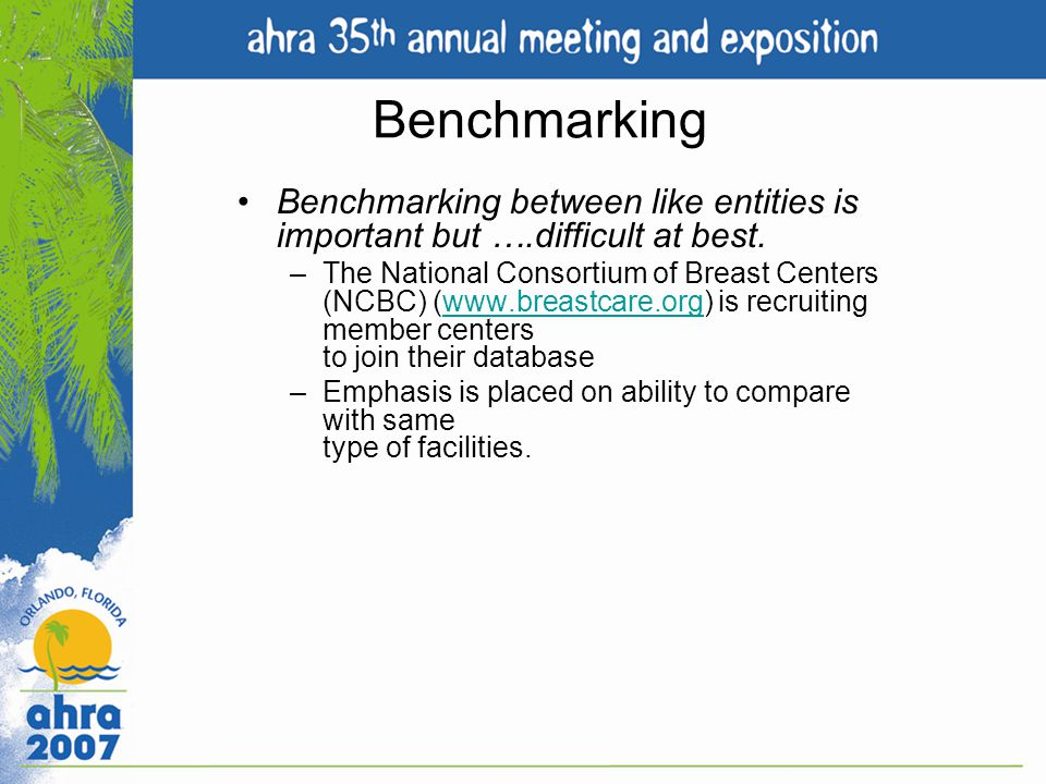 Benchmarking Benchmarking between like entities is important but ….difficult at best.
