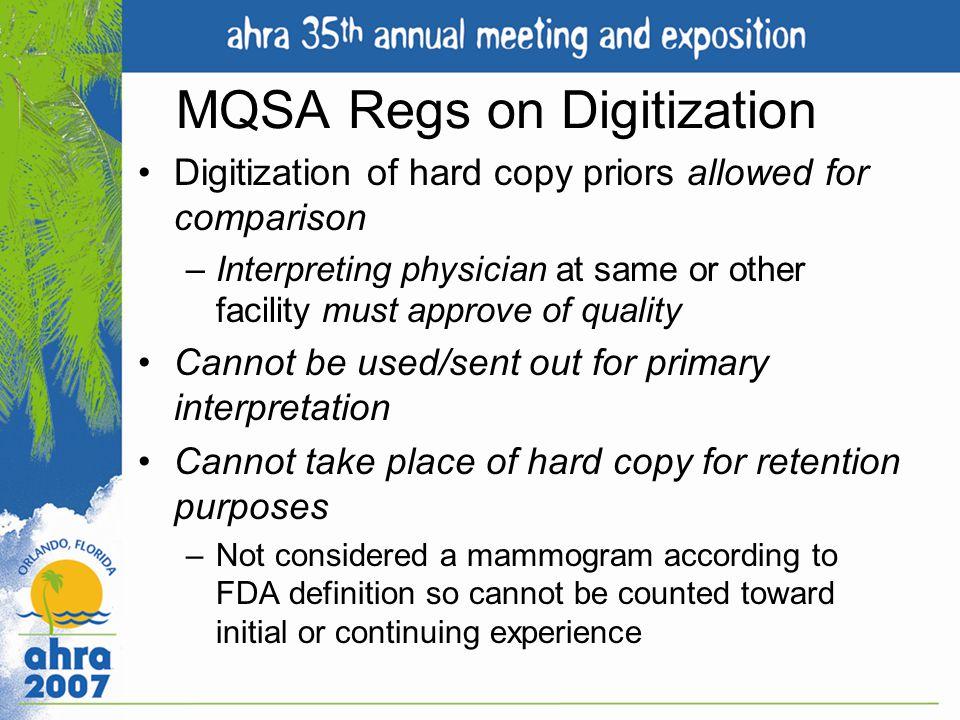 MQSA Regs on Digitization