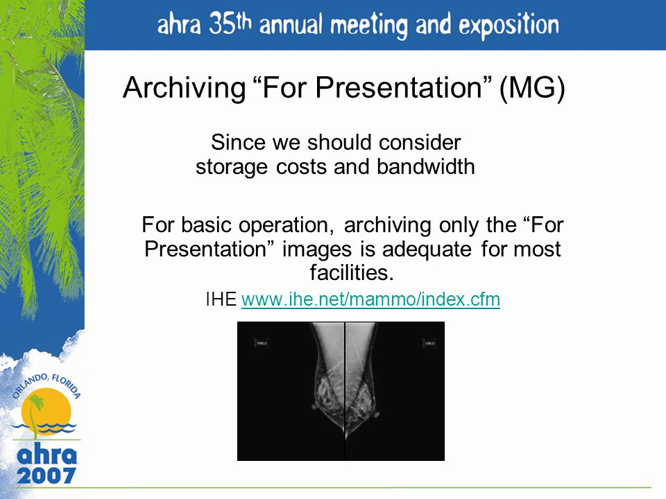 Archiving For Presentation (MG)