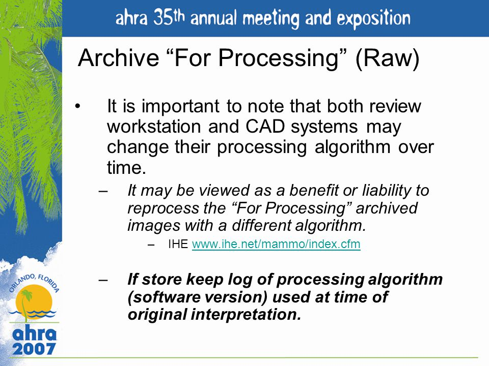 Archive For Processing (Raw)