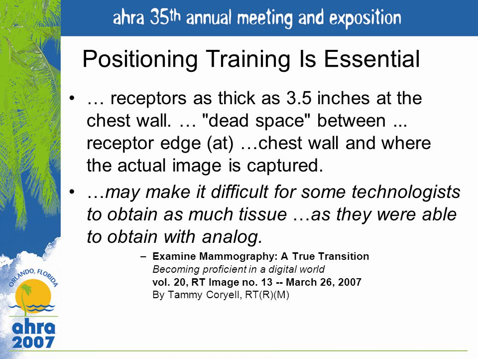 Positioning Training Is Essential