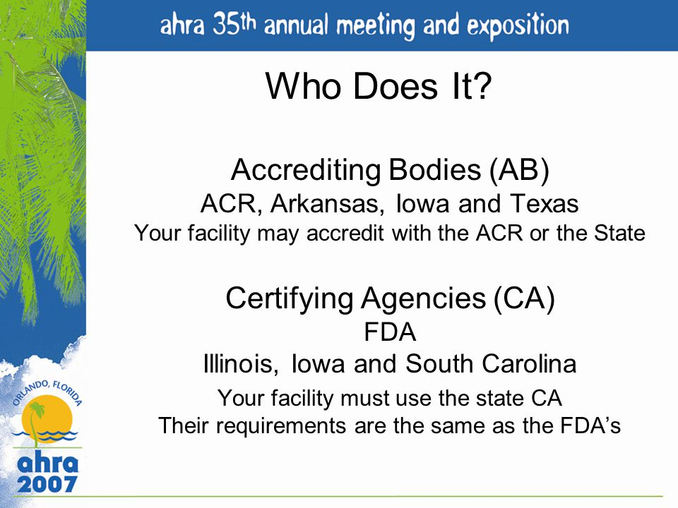 Accrediting Bodies (AB)