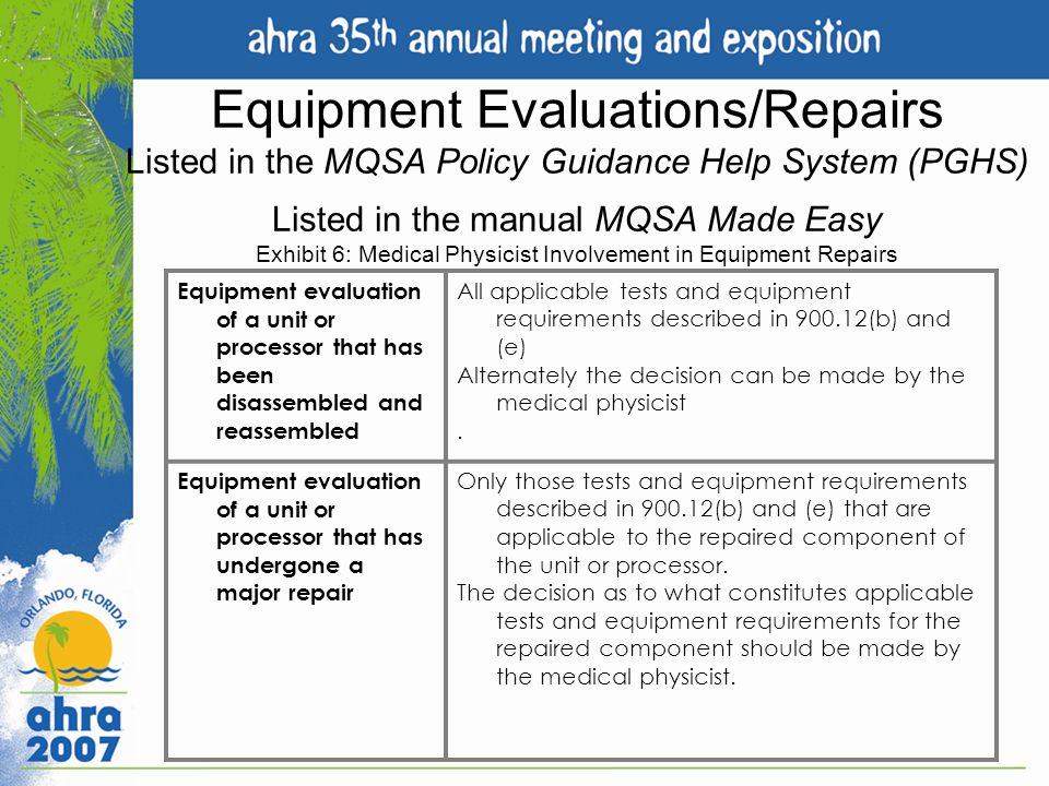 Equipment Evaluations/Repairs Listed in the MQSA Policy Guidance Help System (PGHS) Listed in the manual MQSA Made Easy Exhibit 6: Medical Physicist Involvement in Equipment Repairs