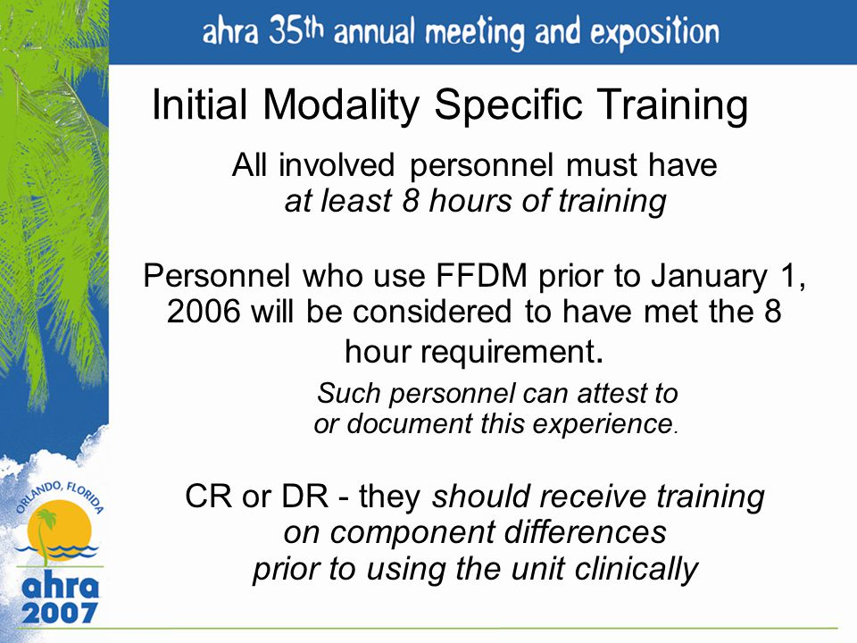 Initial Modality Specific Training