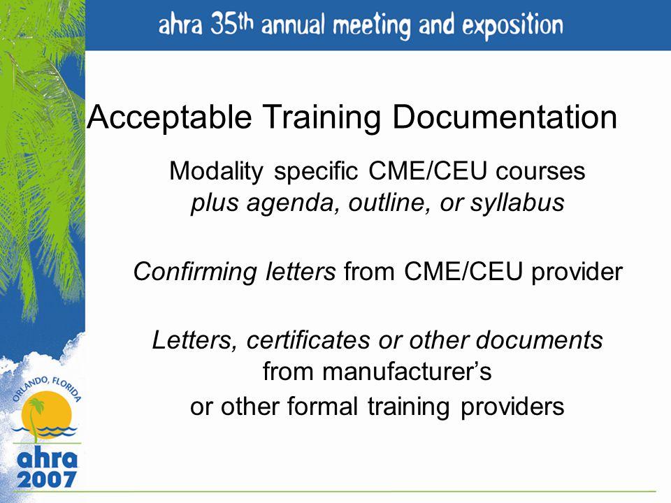 Acceptable Training Documentation