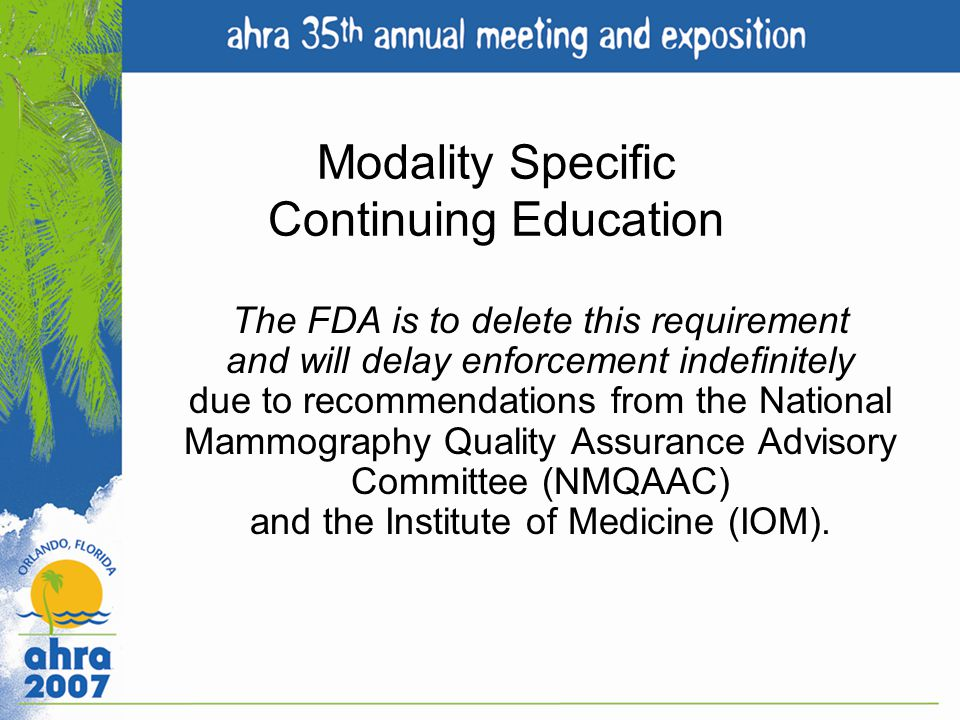Modality Specific Continuing Education