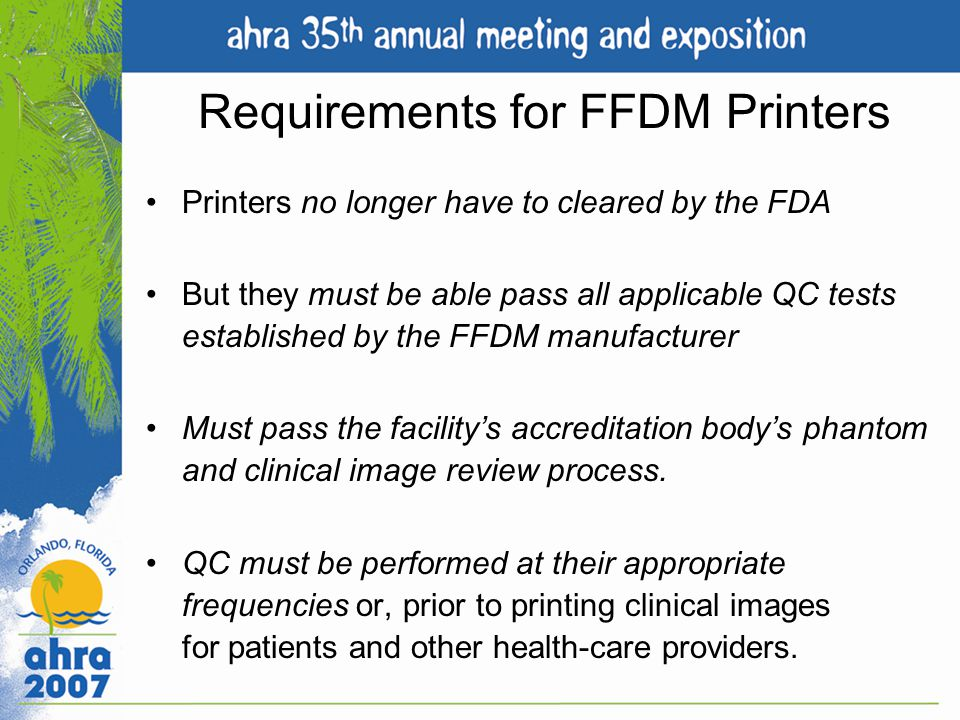 Requirements for FFDM Printers