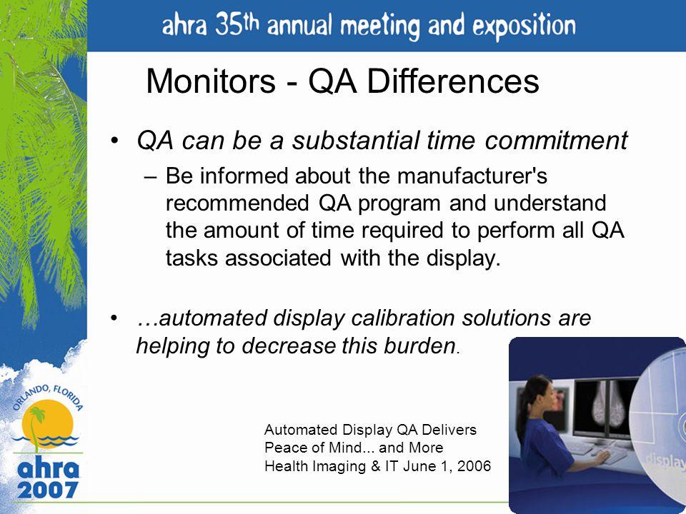 Monitors - QA Differences