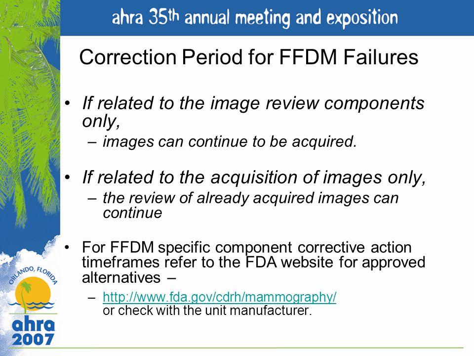 Correction Period for FFDM Failures