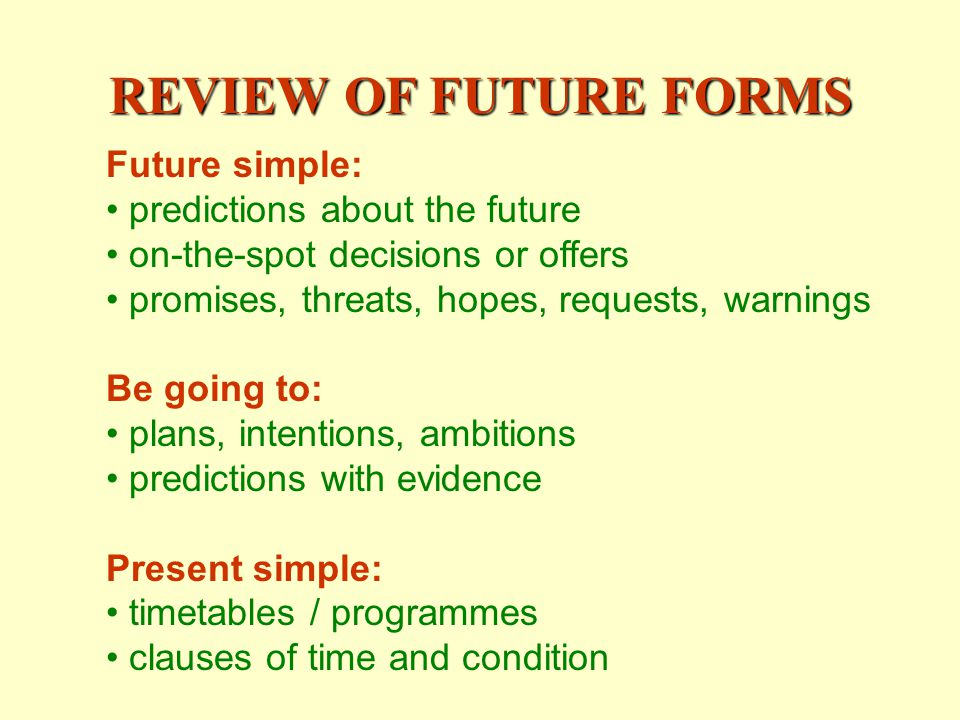 REVIEW OF FUTURE FORMS Future simple: predictions about the future