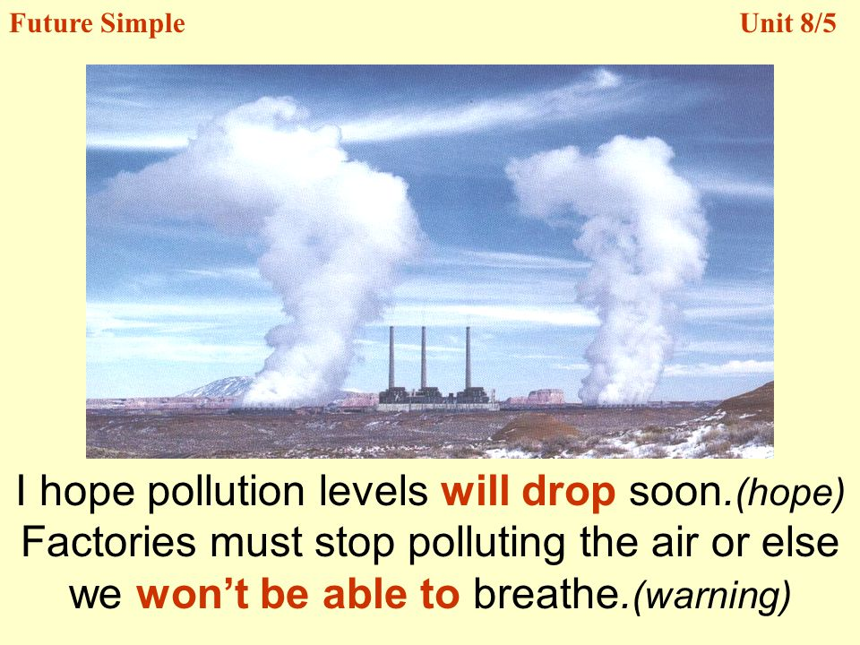 I hope pollution levels will drop soon.(hope)