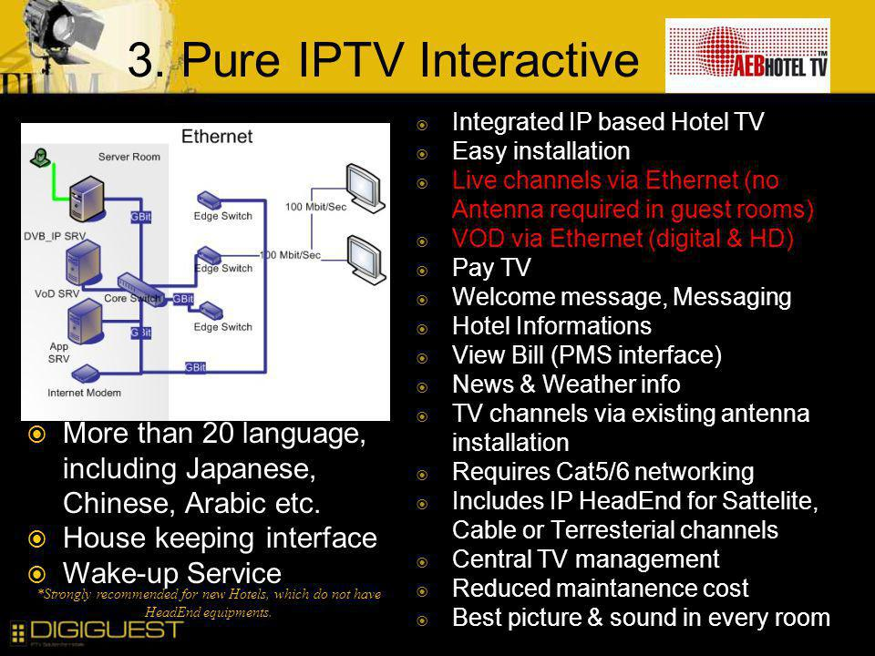3. Pure IPTV Interactive Integrated IP based Hotel TV. Easy installation. Live channels via Ethernet (no Antenna required in guest rooms)