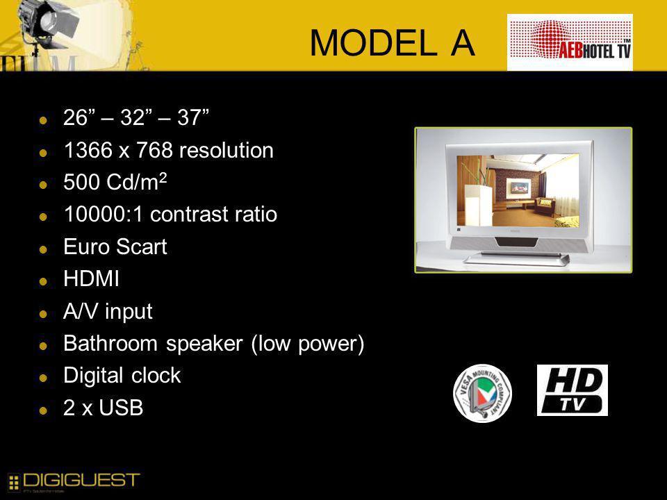 MODEL A 26 – 32 – 37 1366 x 768 resolution 500 Cd/m2
