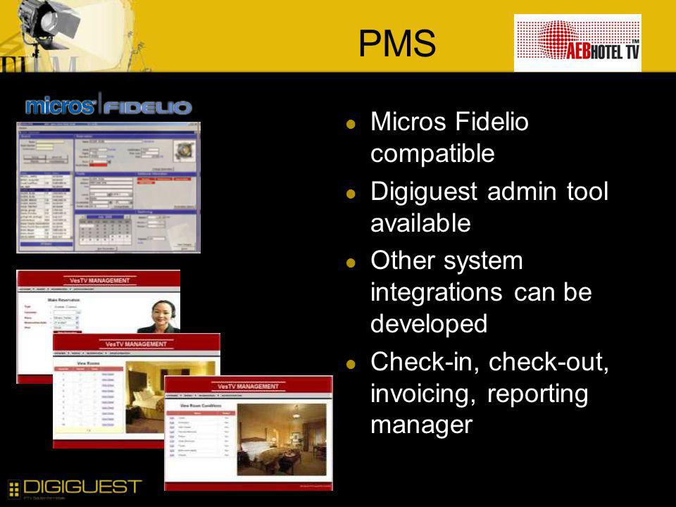 PMS Micros Fidelio compatible Digiguest admin tool available