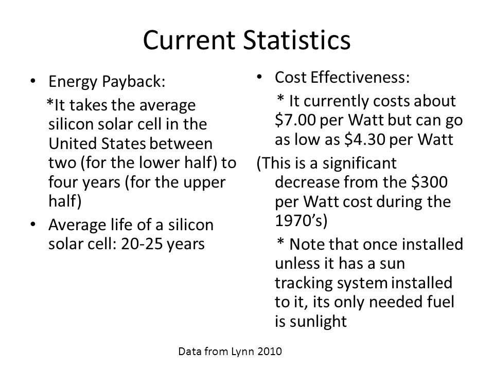 Current Statistics Cost Effectiveness: Energy Payback:
