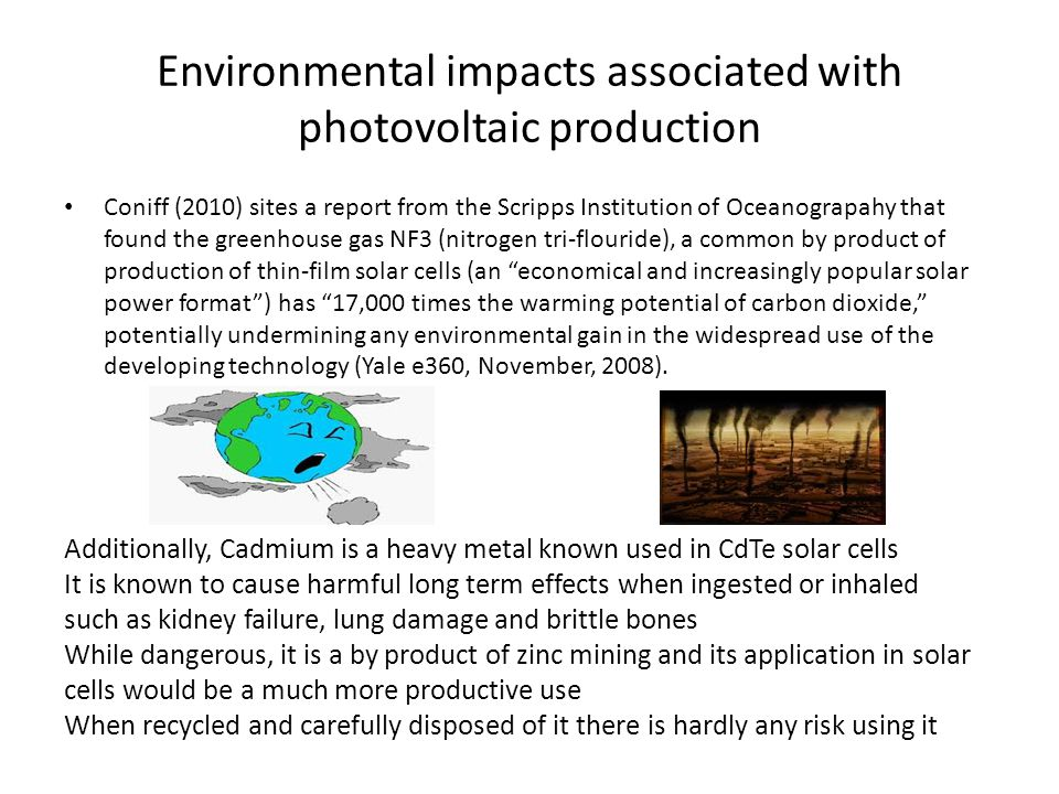 Environmental impacts associated with photovoltaic production