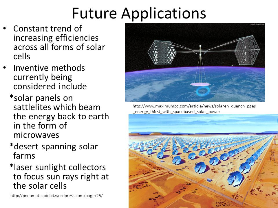 Future Applications Constant trend of increasing efficiencies across all forms of solar cells. Inventive methods currently being considered include.
